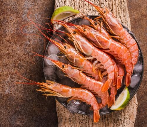 Argentininės raudonosios krevetės L2, 21/30, su galva, su kiautu, 12 kg, šaldytos