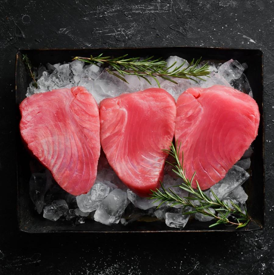 Gelsvauodegio tuno filė gabalai, glazūruoti, 1 kg, šaldyta